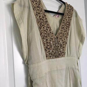 Calypso Linen Dress with Beaded Neckline